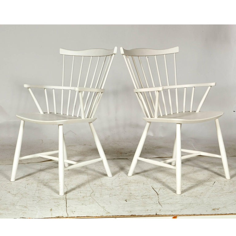 Børge Mogensen Pair Of White Windsor Armchairs By Fdb Møbler Denmark Measures Arms
