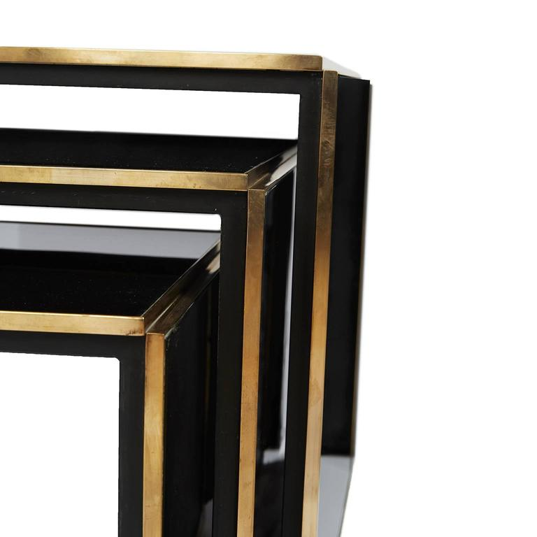 Acrylic And Brass Nest Of Three Tables For Sale At 1stdibs
