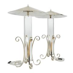 Mid Century Styled Plexi Glass Lucite And Brass End Table