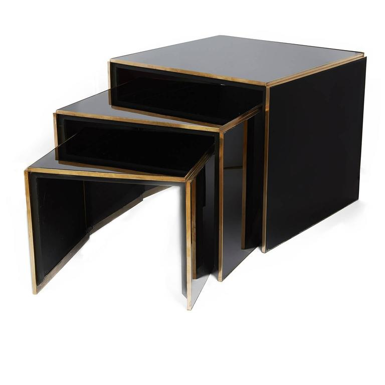 Acrylic and brass nest of three tables for sale at stdibs