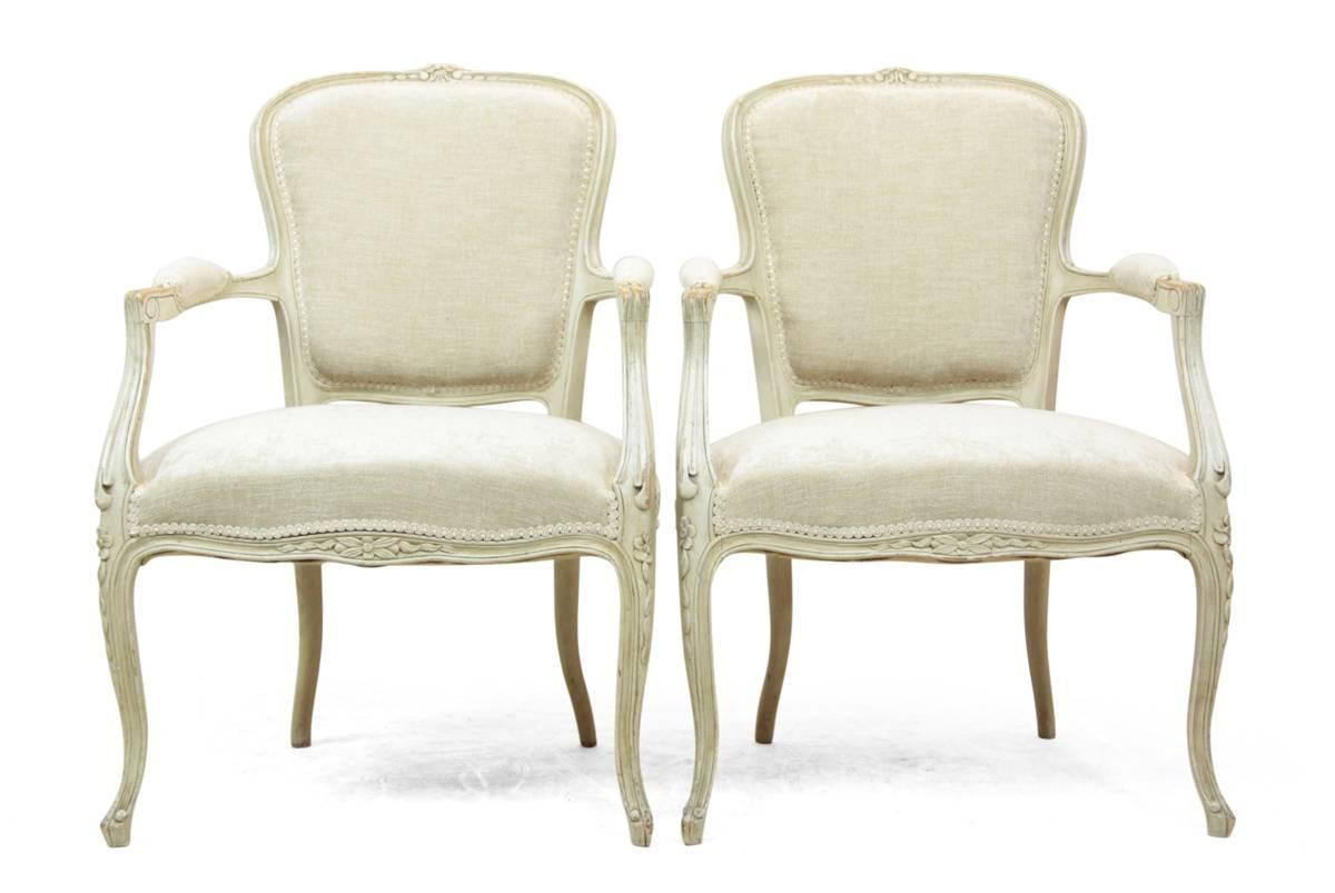 Pair Of Louis XV Style Painted Chairs Circa 1880 For Sale