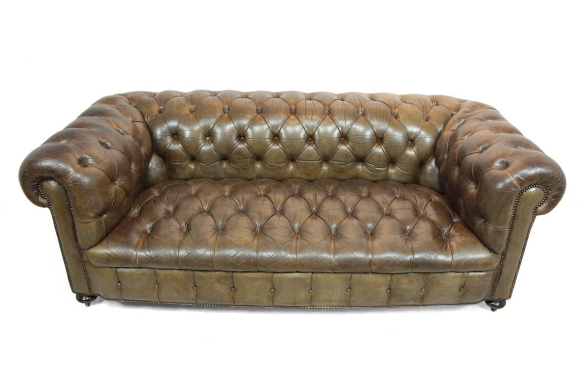 Vintage Leather Button Seat Chesterfield At 1stdibs