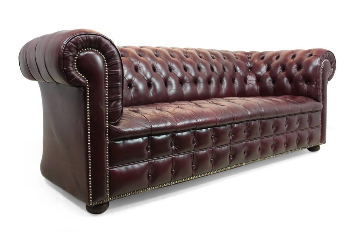 Vintage Leather Chesterfield Sofa in Red at 1stdibs