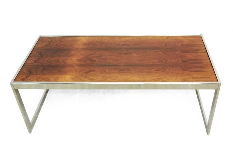 Mid Century Modern Rosewood And Chrome Coffee Table By Howard Miller For