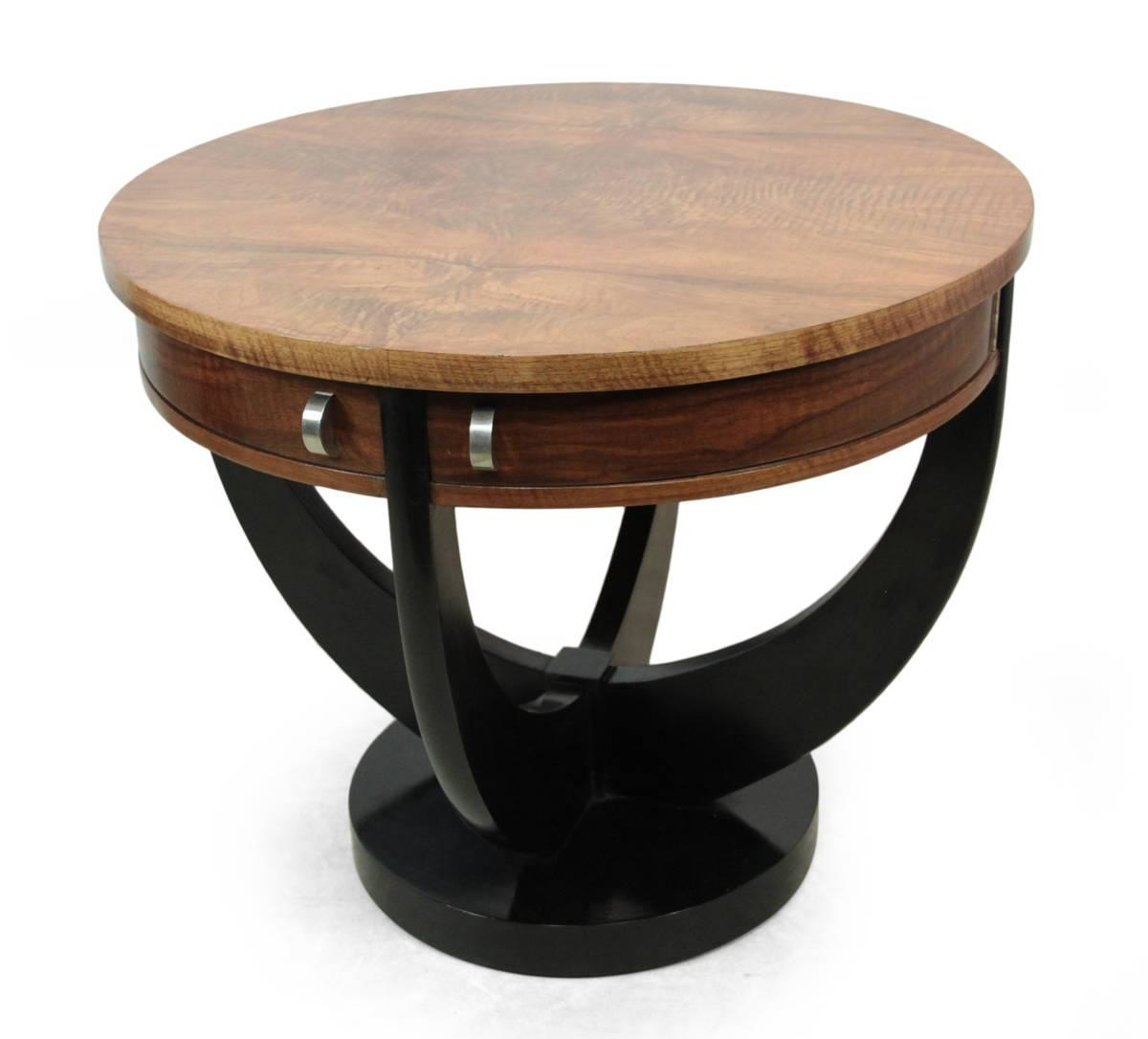 french art deco walnut coffee table with drawers circa 1930 at 1stdibs. Black Bedroom Furniture Sets. Home Design Ideas