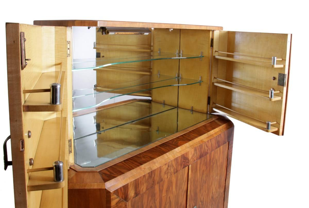Art deco walnut cocktail cabinet circa 1930 for sale at for 1930s kitchen cabinets for sale