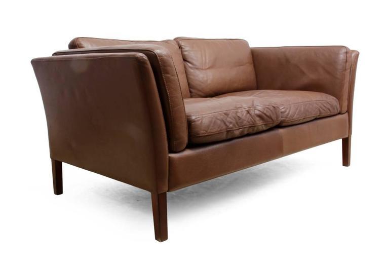 Mid-Century Modern Two-Seat Leather Sofa Danish, circa 1960 For Sale