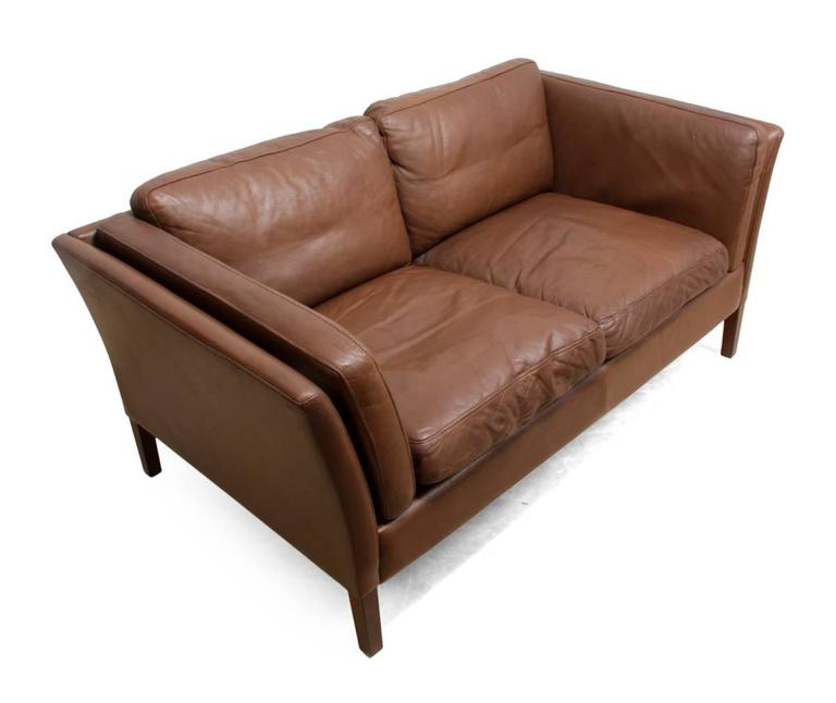 Two-Seat Leather Sofa Danish, circa 1960 In Excellent Condition For Sale In Paddock Wood, Kent