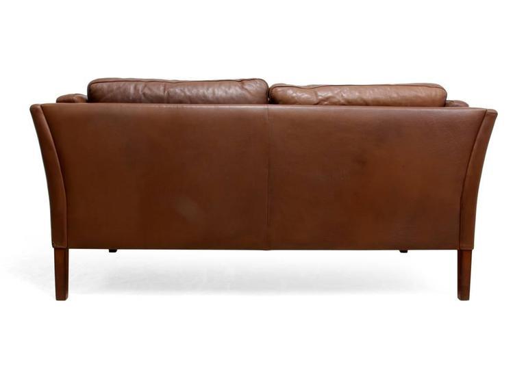 Two-Seat Leather Sofa Danish, circa 1960 For Sale 2