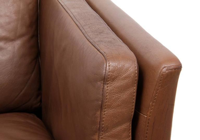 Two-Seat Leather Sofa Danish, circa 1960 For Sale 3