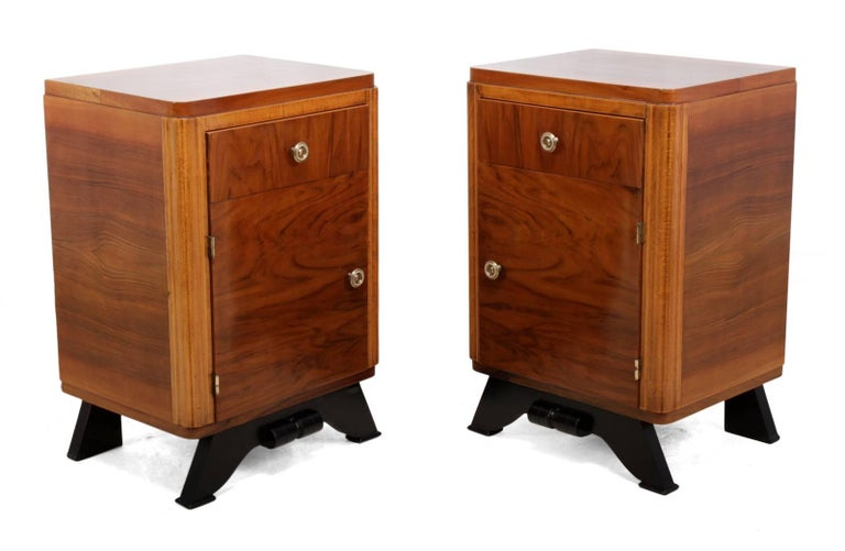Walnut Pair of French Art Deco Bedside Cabinets  For Sale