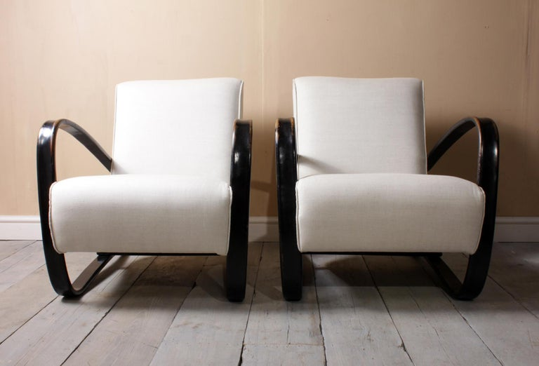 Beech Halabala Armchairs H269 For Sale