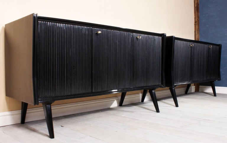 Pair of Midcentury Italian Piano Lacquer Sideboards In Good Condition For Sale In Paddock Wood, Kent