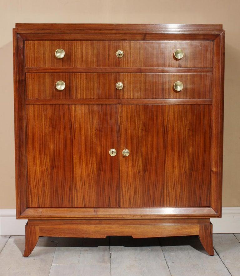 Brass Art Deco Cabinet, circa 1930 For Sale