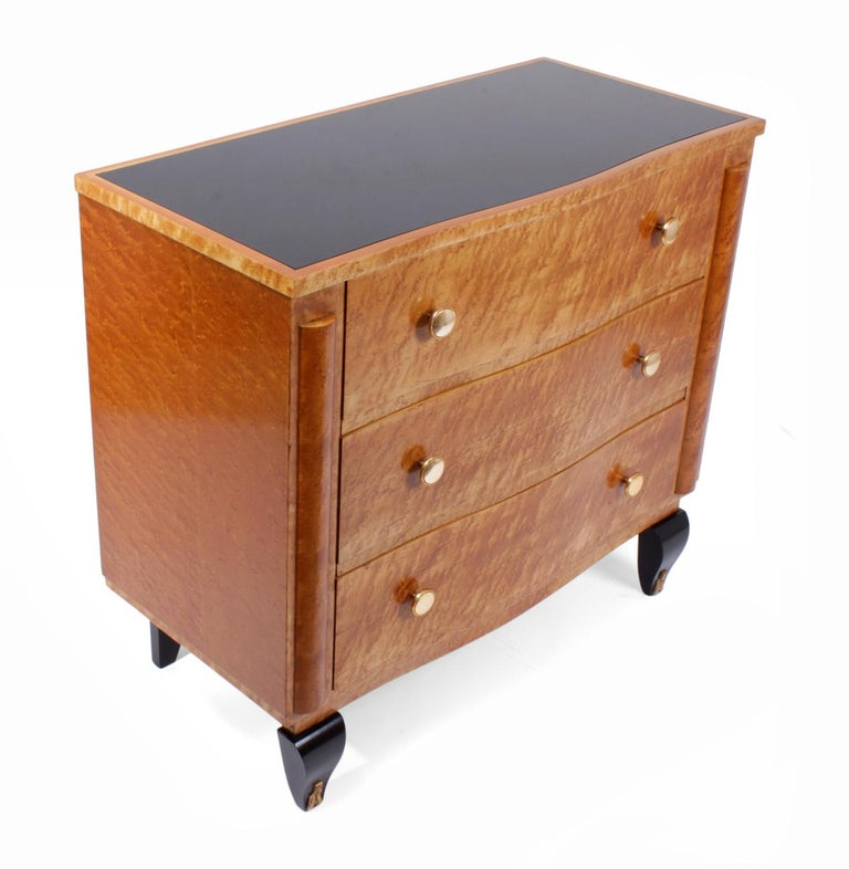 Glass Art Deco Chest of Drawers in Bird's-Eye Maple For Sale
