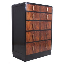 Art Deco Walnut and Ebonised Chest of Drawers