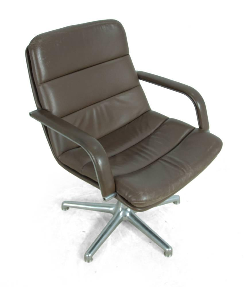 Artifort leather and cast aluminum desk chair at 1stdibs