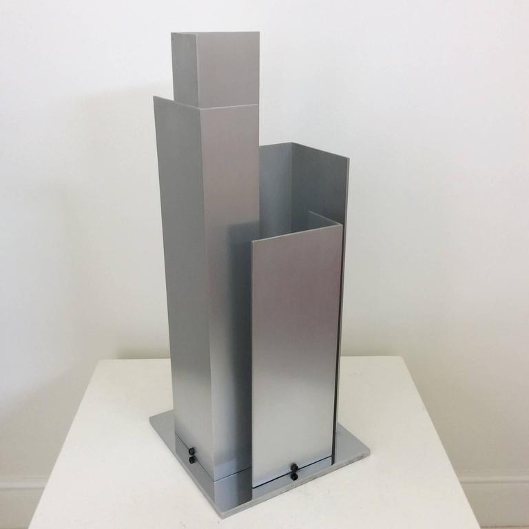 Skulpturale Tischlampe Aluminium und Verchromter Stahl, Italien, um 1970 4