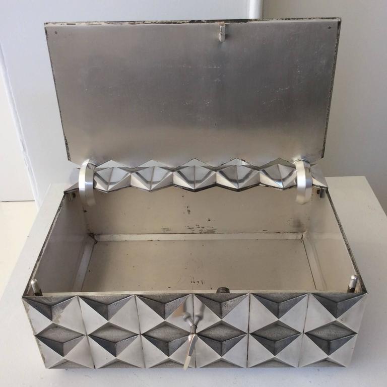 Kostbare Schachtel aus vergoldetem Silber im Diamant-Design, Frankreich, 1970er Jahre 2