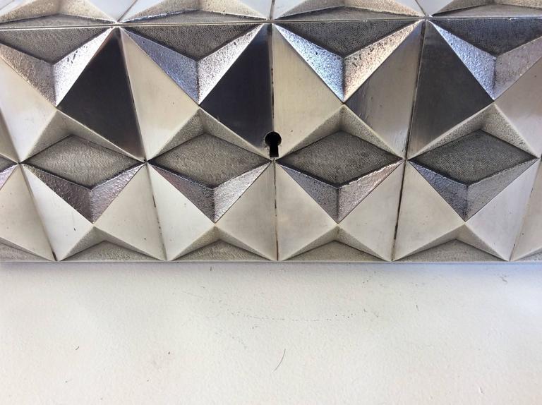 Kostbare Schachtel aus vergoldetem Silber im Diamant-Design, Frankreich, 1970er Jahre 8