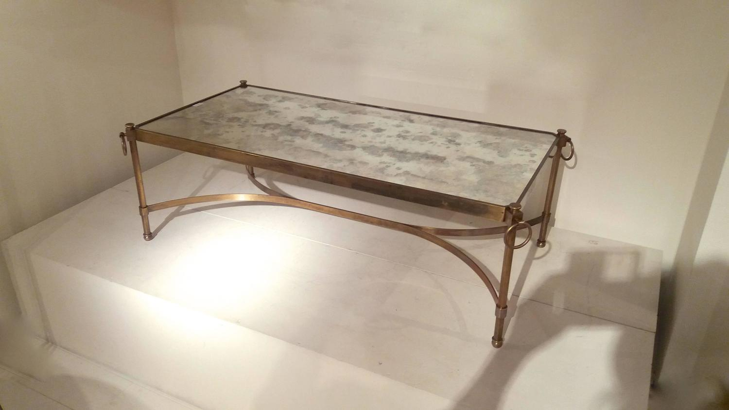 Large Brass And Patinated Mirrored Glass Top Coffee Table Circa 1940 France For Sale At 1stdibs