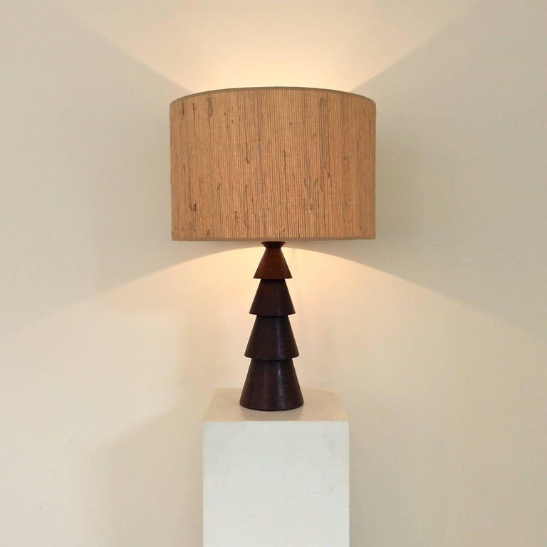 Large wood table lamp france circa 1940 at 1stdibs elegant large wood table lamp circa 1940 france dark wood new shade keyboard keysfo Image collections