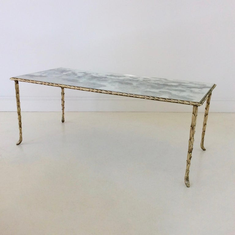 Gilt Bronze Coffee Table by Maison Baguès, circa 1950, France In Good Condition For Sale In Brussels, BE