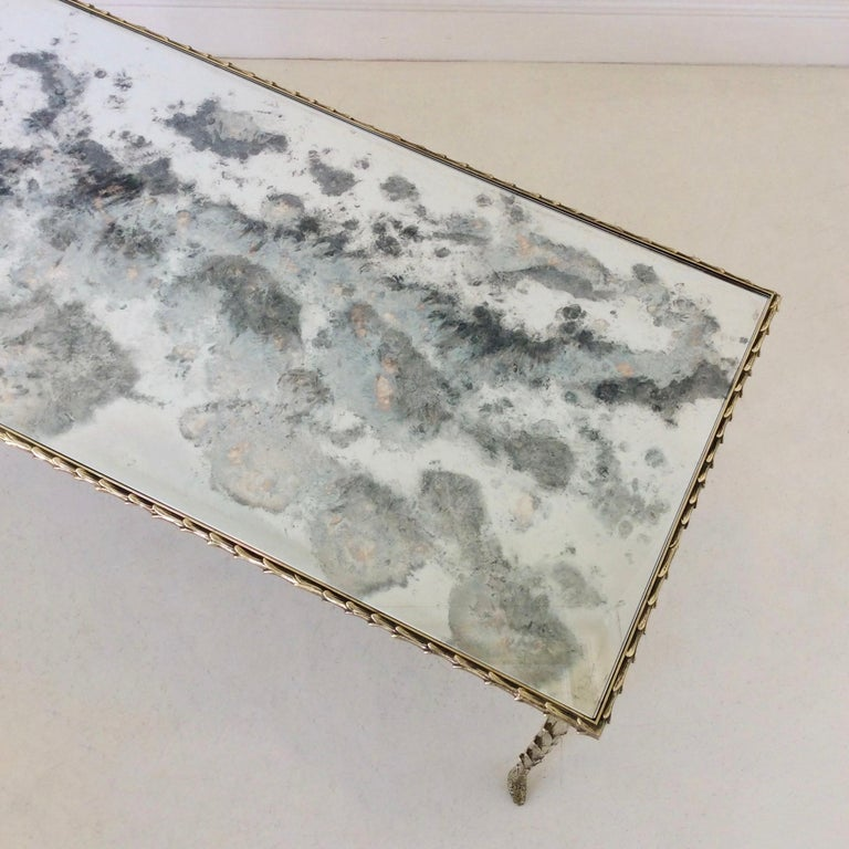 Mirror Gilt Bronze Coffee Table by Maison Baguès, circa 1950, France For Sale