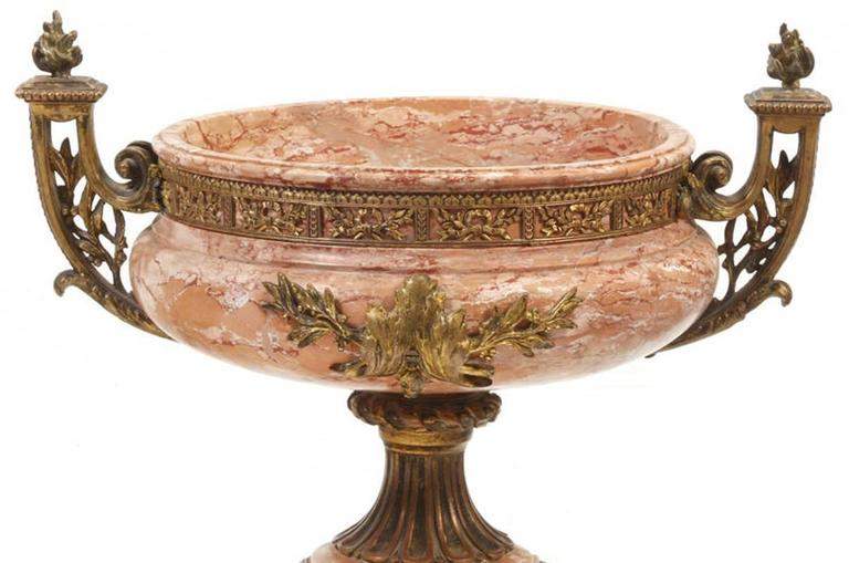 Neoclassical 19th Century Italian Gilt Bronze Marble Urn For Sale