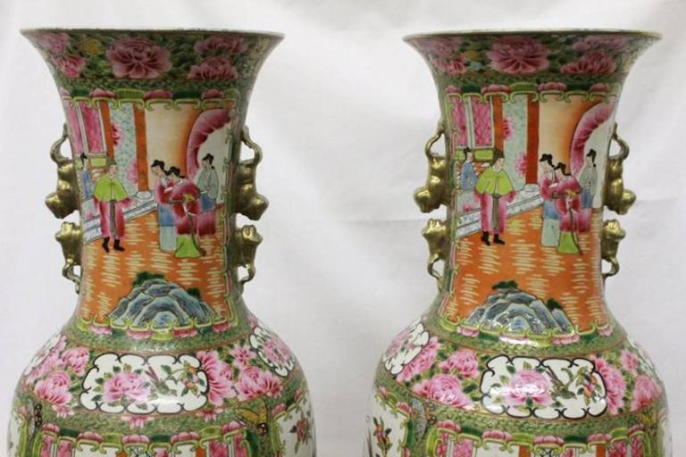 Pair Of Chinese Rose Canton Porcelain Vases Circa 1900 For Sale At