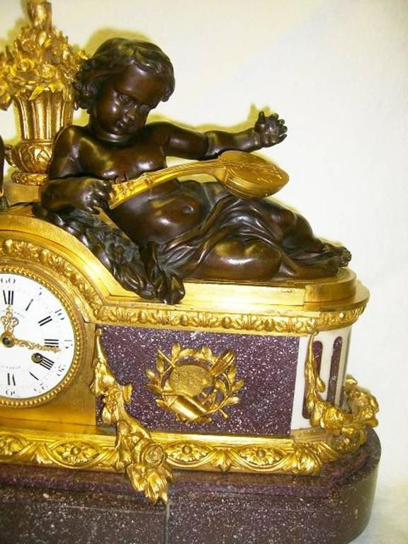 French Bronze and Porphyry Clock by Julien Le Roy, 19th Century For Sale