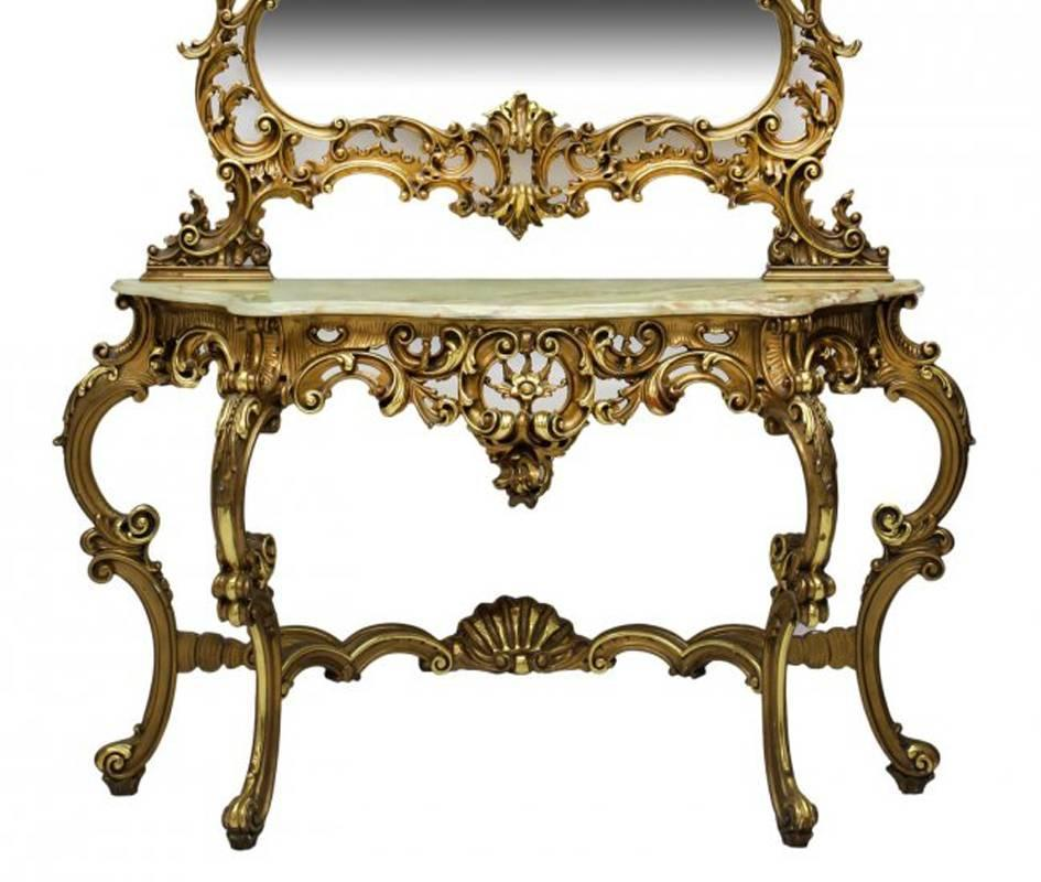 italian baroque style console with mirror mid 20th century at 1stdibs. Black Bedroom Furniture Sets. Home Design Ideas