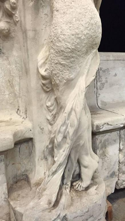 Monumental French Cast Stone Figural Bench, 19th Century For Sale 2