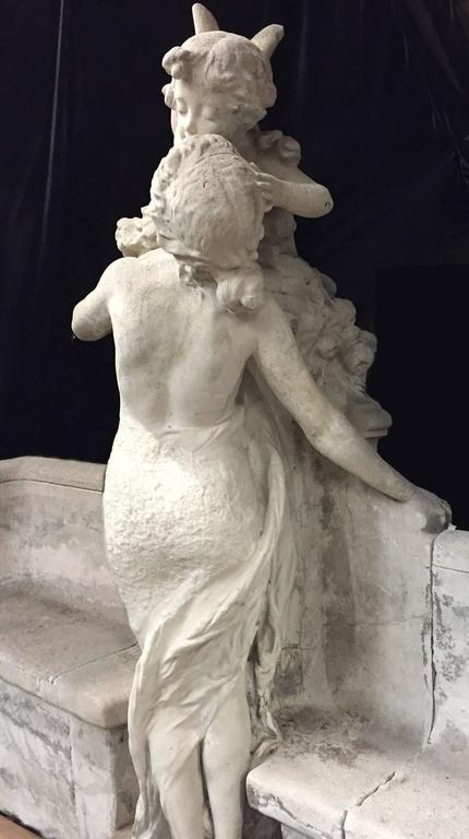 Monumental French Cast Stone Figural Bench, 19th Century For Sale 5