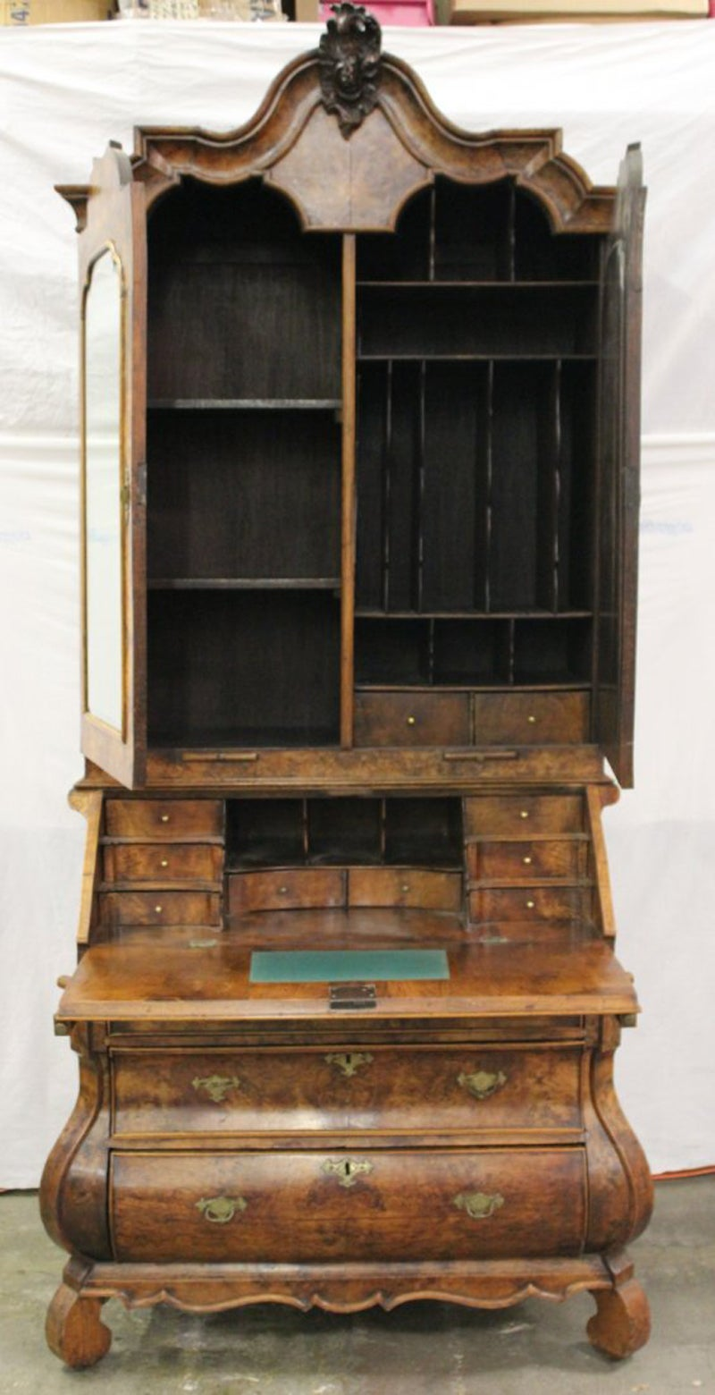 Captivating 18th Century Dutch Baroque Burl Walnut Secretary Cabinet For Sale At 1stdibs