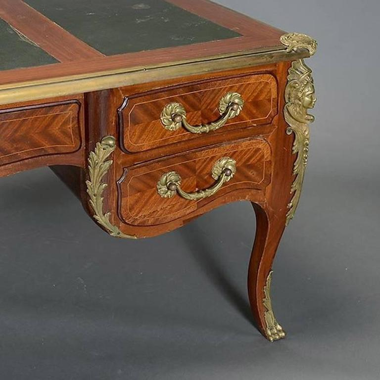 Louis XV Style Ormolu-Mounted Bureau Plat Desk, 19th Century 3