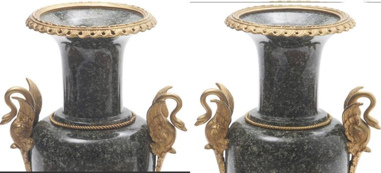 Pair of French Gilt Bronze-Mounted Marble Urns 2