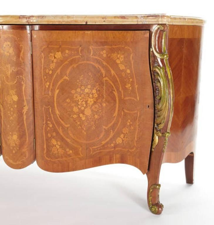 Louis XV Style Marquetry Two-Door Cabinet with Sienna Marble, Mid-20th Century 2