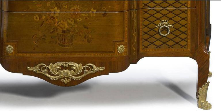 French Parquetry and Marquetry Ormolu-Mounted Commode, 19th Century 3