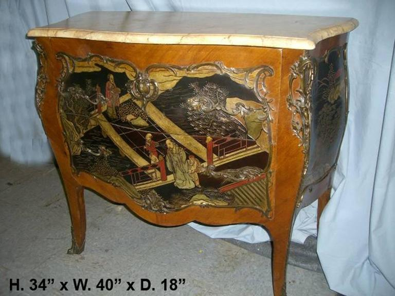 Louis XV Style Chinoiserie Coromandel Commode, 19th Century In Good Condition For Sale In Cypress, CA