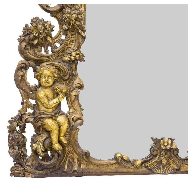 Italian Baroque Style Carved Giltwood Mirror, Mid-19th Century In Good Condition For Sale In Cypress, CA