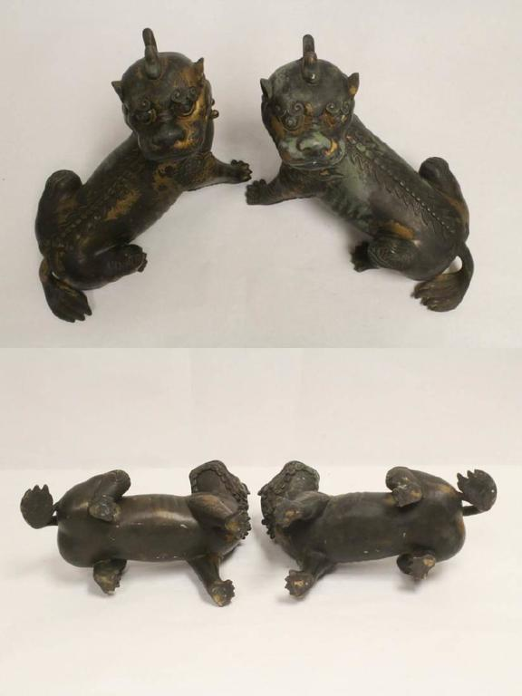 Pair of Antique Chinese Patinated Bronze Fu Lions For Sale 6