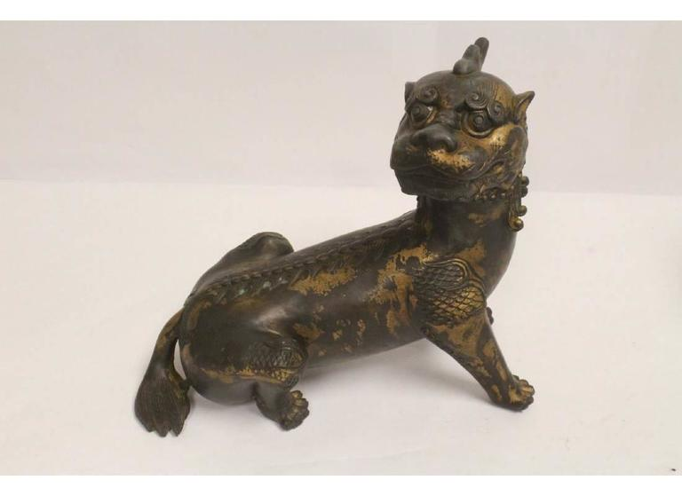Pair of Antique Chinese Patinated Bronze Fu Lions For Sale 5
