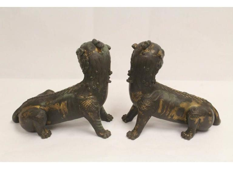 20th Century Pair of Antique Chinese Patinated Bronze Fu Lions For Sale