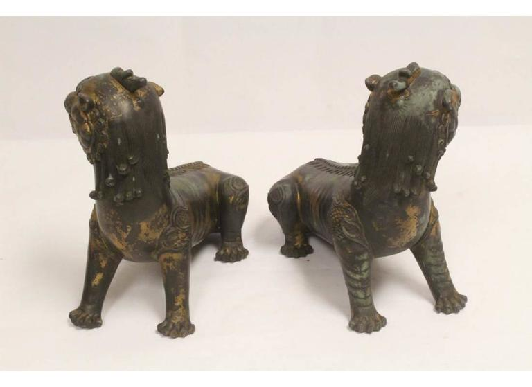 Pair of Antique Chinese Patinated Bronze Fu Lions For Sale 2