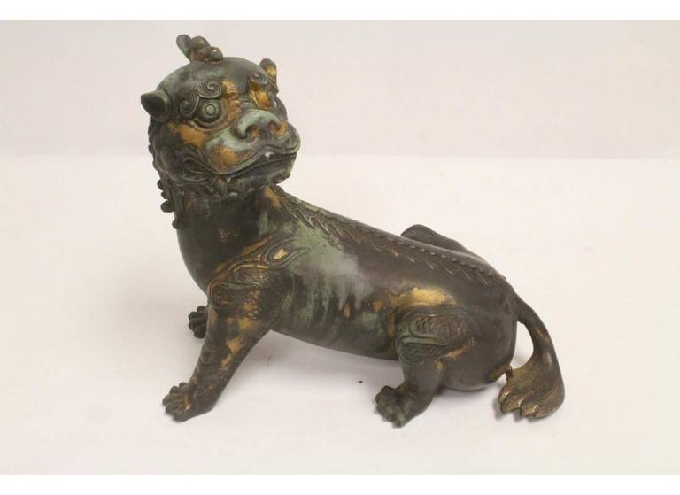 Pair of Antique Chinese Patinated Bronze Fu Lions For Sale 4