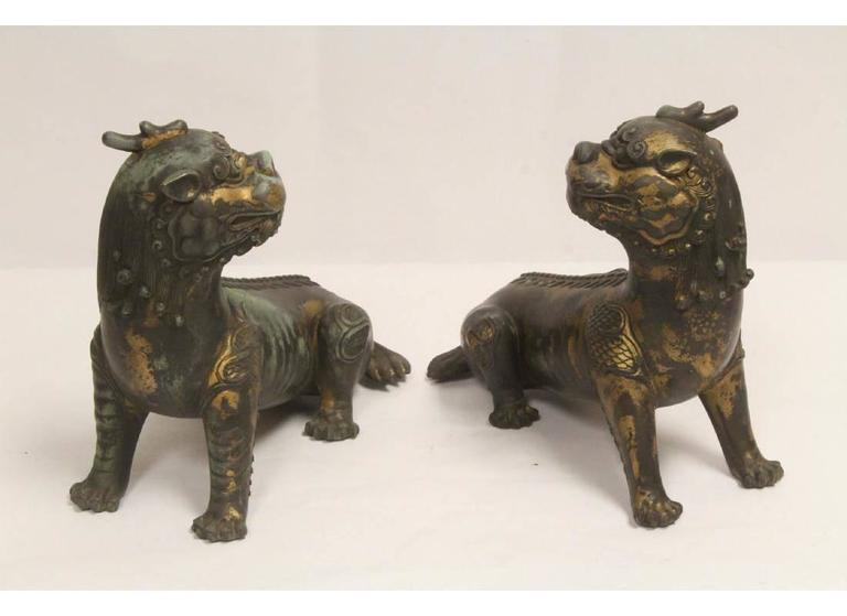 Pair of Antique Chinese Patinated Bronze Fu Lions For Sale 3
