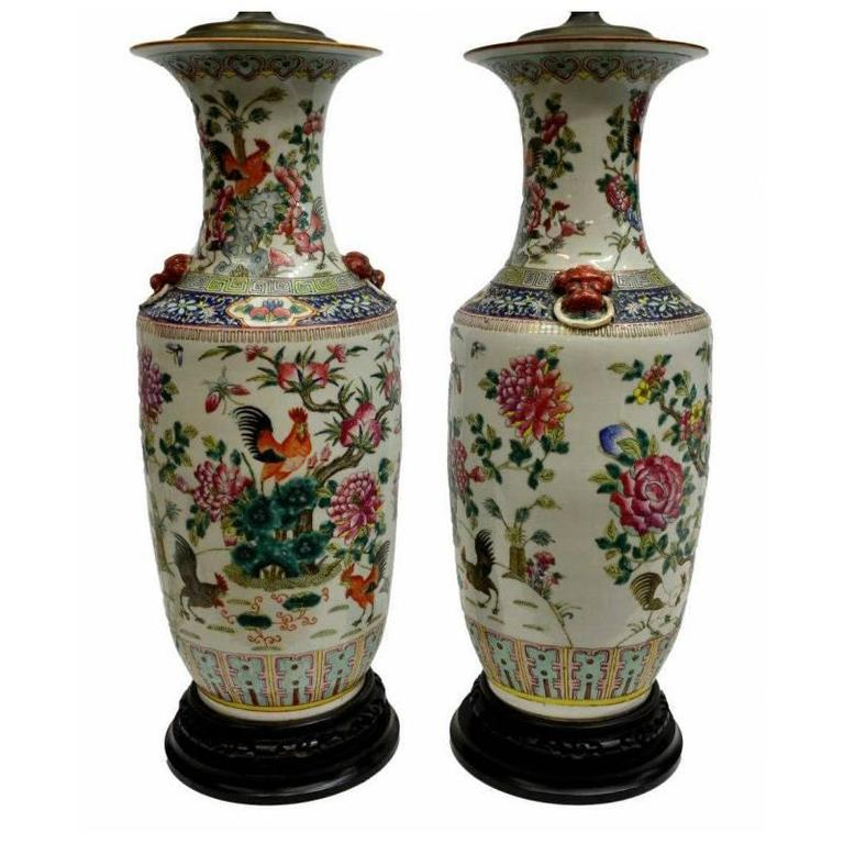 Pair Of Antique Chinese Hand Painted Vase Lamps For Sale
