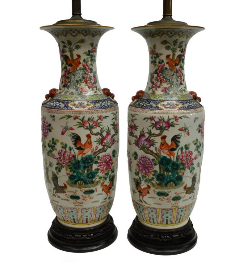 Antique Chinese Hand Painted Vase Lamps