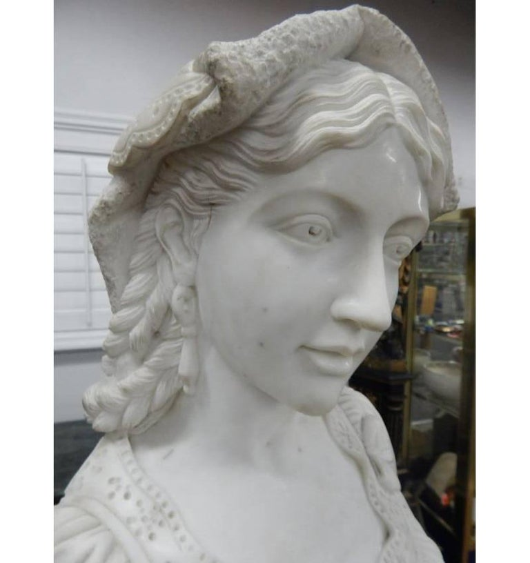 Italian Carved Marble Bust of Woman on Pedestal In Good Condition For Sale In Cypress, CA
